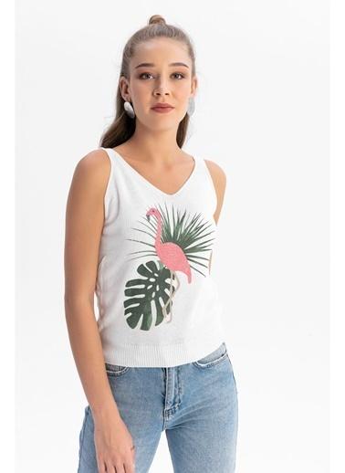 Tiffany&Tomato Askılı Flamingo Baskılı Triko Bluz Beyaz